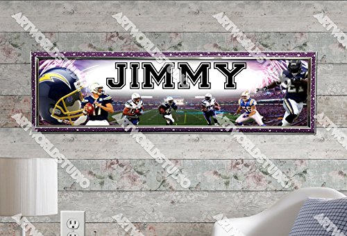 "San Diego Chargers - 10""x31"" Personalized Name Poster with Hard Frame, Customize Name Sign, Birthday Party Banner"