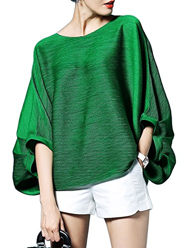 Balloon Sleeve Top - MissLook Women's Crew Neck Puff Sleeve Oversize Batwing Dolman Loose Tunic Blouse Top - One-Size, Green