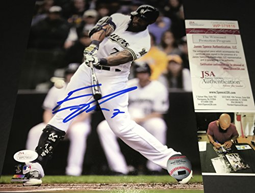 Autographed Brewers - Eric Thames Milwaukee Brewers Autographed Signed 8x10 JSA WITNESS COA