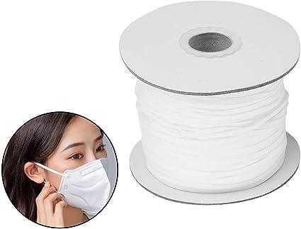1//8inch, White 120 Yard Elastic Band Braid Rope Spool Elastic String for Sewing Craft DIY Mask