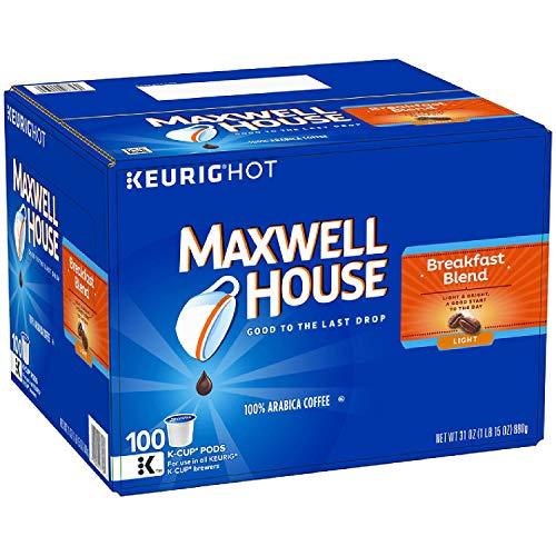 Maxwell House Breakfast Blend Coffee, K-CUP Pods, 100 Count (Pack of ()