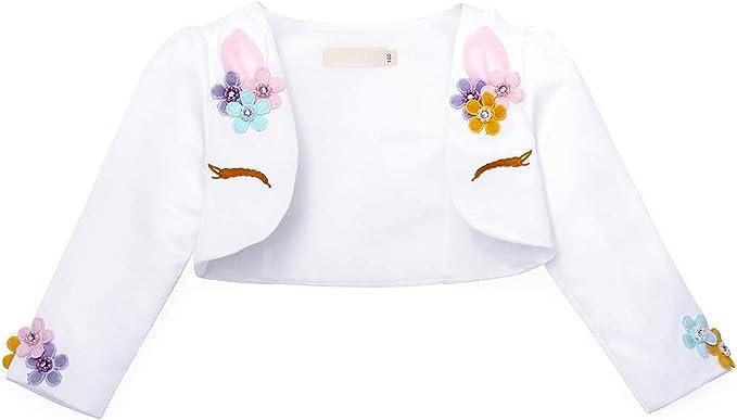 CHICTRY Little Girls Long Sleeve Beaded Lace Bolero Cardigan Flower Girl Shrug Dress Cover Up