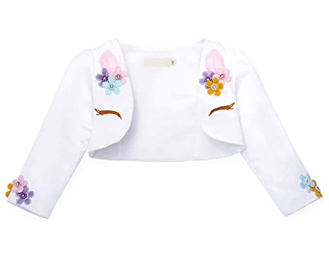 9d23d9090 AmzBarley Girls Unicorn Bolero Shrug Long Sleeve Flowers Beaded Cardigan  Childs Kids Party Outfit Birthday Evening Dress Cover up: Amazon.co.uk:  Clothing