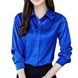YOUMU Women Satin Silk Long Sleeve Button-Down Shirt Formal Work Blouse Top