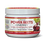Nu-Therapy Power Beets Plus Energy, Super Concentrated Non-GMO Beet Juice Powder, with Natural Caffeine and 0 Grams of Sugar, Delicious Acai Berry Pomegranate Flavor, 30 Servings