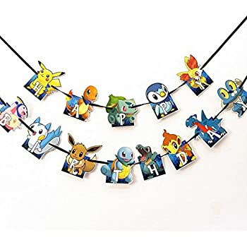 Happy Birthday Banner, Pokemon Style Party Decorations, Birthday Party Supplies