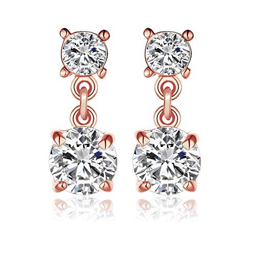 KIMING 14k Rose Gold Overlay Naked Drill Cubic Zirconia Element Crystal Earrings ()