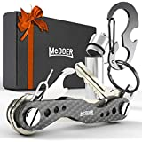 Smart Compact Key Organizer Keychain - VER 2.0 Stainless Steel Screws, Carbon Fiber Key Holder Keyring up to 20 Keys with Carabiner, Cash Stash SIM and Bottle Opener, Black Folding Keychain Multitool