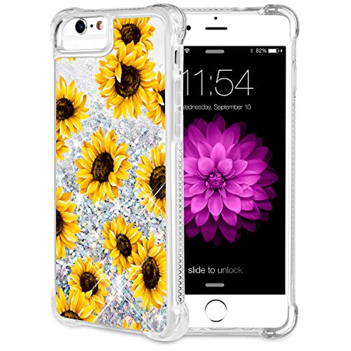 Caka iPhone 6/6S/7/8 Case, iPhone 6S Floral Glitter Case with Tempered Glass Screen Protector Bling Flowing Floating Luxury Sparkle Soft TPU Liquid Case for iPhone 6/6S/7/8 (4.7 inch) - (Sunflower)