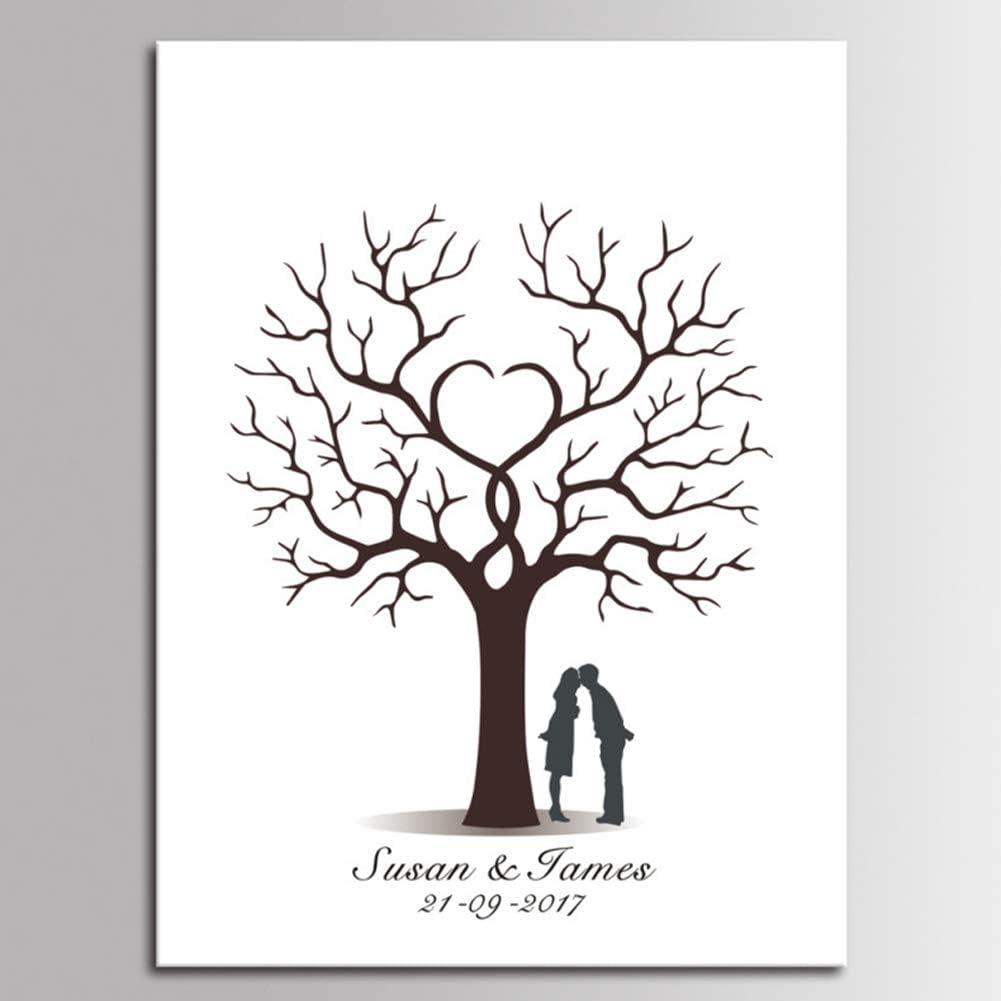 White Yellow 21 30cm jasminelady Fingerprint Tree Canvas Painting,DIY Guest Book Signature Wedding Party Decor