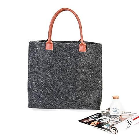 SMYLLS Felt Reusable Shopping Bag Eco-Friendly Grocery Shopping Bags,2017 New Design (XL, Gray)
