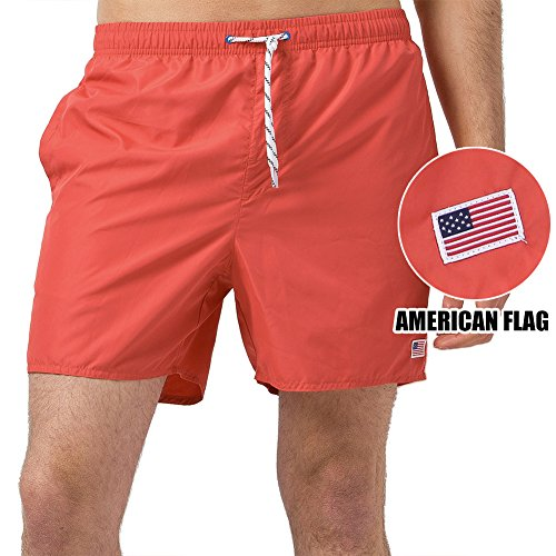 MaaMgic Mens Quick Dry Short American Flag Swim Trunks With Mesh Lining - Confederate Flag Swimwear