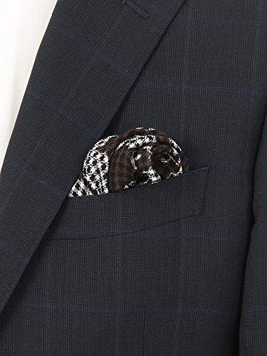 MADE IN ITALY/ウールシルクポケットチーフ ブラウン×ブラック×ホワイト