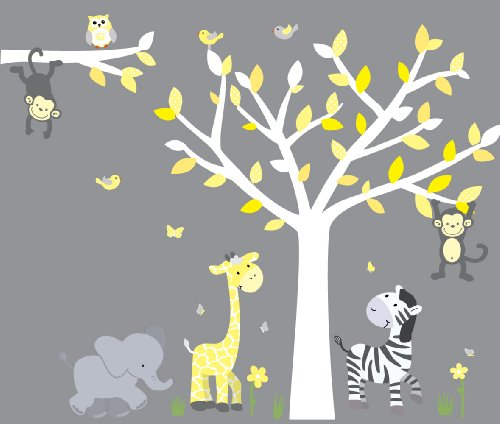 Wild Animals, Yellow Gray Jungle Tree Wall Decals, Jungle Stickers with Gray and Yellow Leaves, Vinyl Tree