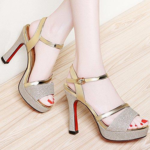 Jqdyl Tacones Sandalias de Verano nuevos Zapatos de Boca de Pescado Zapatos Gruesos con Plataforma Impermeable Sandalias de Tacón Alto, 34, Dorado 34|Golden
