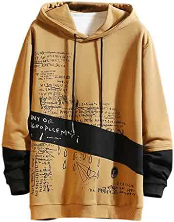 Men Sweatshirt Casual Fashion Patchwork Long Sleeve Hoodies Loose Plus Size Pullover Tops Outwear