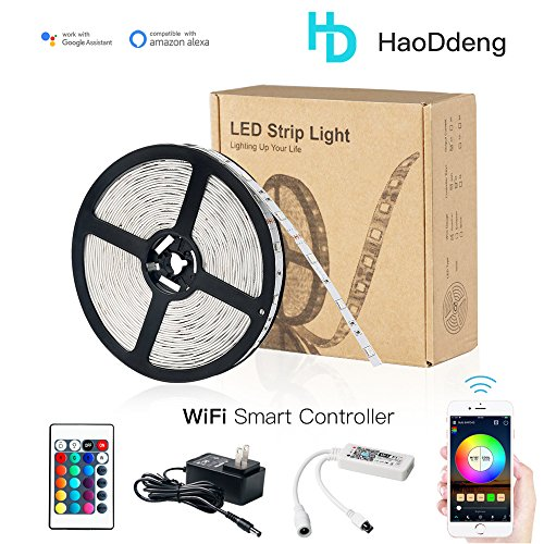 HaoDeng LED Light Strip RGB Strip Lights LED Tape Lights Compatible with Alexa and Google Home,Comes with 16.4ft IP65 5050 RGB 150 LEDs Smart WiFi Strip Lights,Remote Control by (Above Dining Sets)