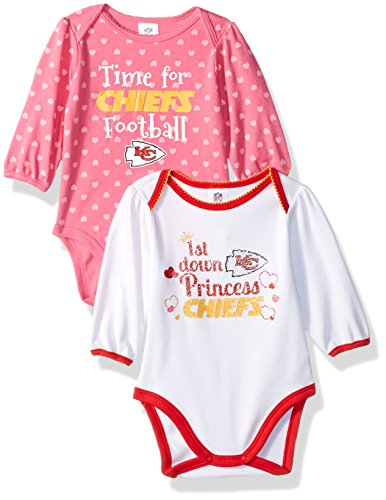 NFL Kansas City Chiefs Baby-Girls 2-Pack Long-Sleeve Bodysuits, Chiefs, 3-6 Months ()