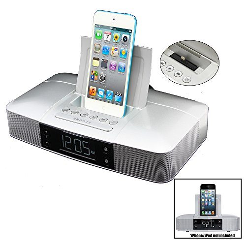 Capello Stereo FM Clock Alarm Radio with Lightning Dock for iPhone 5/5S and 6 Electronic Accessories