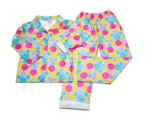 Girl's Flannel Pajama Pants Set (5, Happy Face)