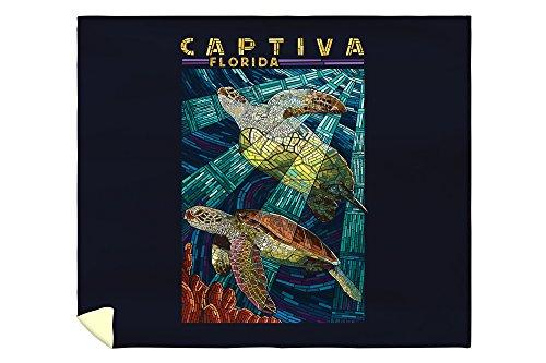 Lantern Press Captiva, Florida - Sea Turtle Paper Mosaic 45530 (88x104 King Microfiber Duvet Cover)
