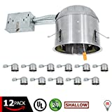 """ESD Tech 6"""" Inch LED Remodel Can Air Tight IC Rated Housing for Recessed Lighting – UL Listed and Title 24 Certified (SHALLOW) (12-Pack)"""