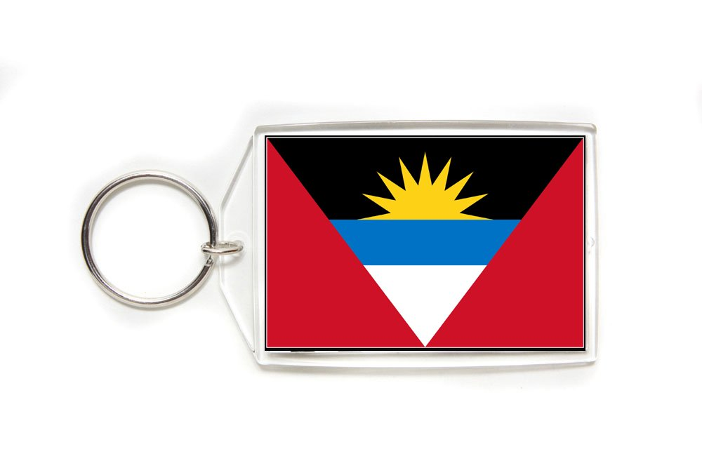 Antigua & Barbuda Flag Double Sided Acrylic Key Ring Large