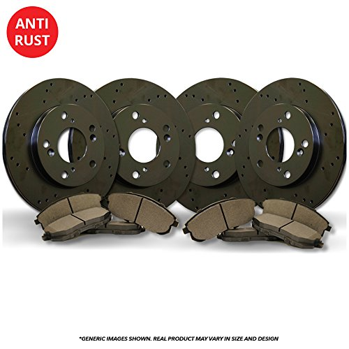 (Front+Rear Kit)(High-End) 4 Black Coated Cross-Drilled Disc Brake Rotors + 8 Semi-Metallic Pads(Fits:- 3 3 Sport)(5lug)