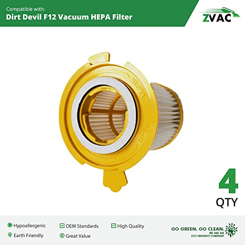 - ZVac Compatible 2KD1680000 Filter Replacement Dirt Devil F-12 Filter 4pk Replaces Part Numbers F12 3KD1680000, 2-KD1680-000 Fits: Vision Canister Vacuum M082660, 082550, M082700