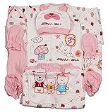 Jinyouju Infant Bodysuit 18pcs Cotton Essential Clothing Set Newborn Caring Layette Gift Sets 0-6 Months Pink