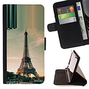 Architecture Paris Eiffel Tower Day - Painting Art Smile Face Style Design PU Leather Flip Stand Case Cover FOR Sony Xperia m55w Z3 Compact Mini @ The Smurfs
