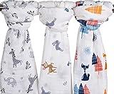Little Jump Baby Muslin Baby Swaddle Blankets, 47x47 (3 Pack)'Fox & Deer & Girafe Print' Organic Cotton Muslin Receiving Blanket for Boys and Girls (Fox & Deer & Girafe)