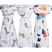 Little Jump Baby Muslin Baby Swaddle Blankets, 47x47 (3 Pack) Fox & Deer & Girafe Print  Organic Cotton Muslin Receiving Blanket for Boys and Girls (Fox & Deer & Girafe)