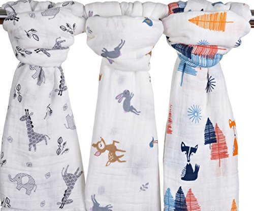 Little Jump Baby Muslin Baby Swaddle Blankets, 47x47 (3 Pack)''Fox & Deer & Girafe Print'' Organic Cotton Muslin Receiving Blanket for Boys and Girls (Fox & Deer & Girafe) by LittleJump
