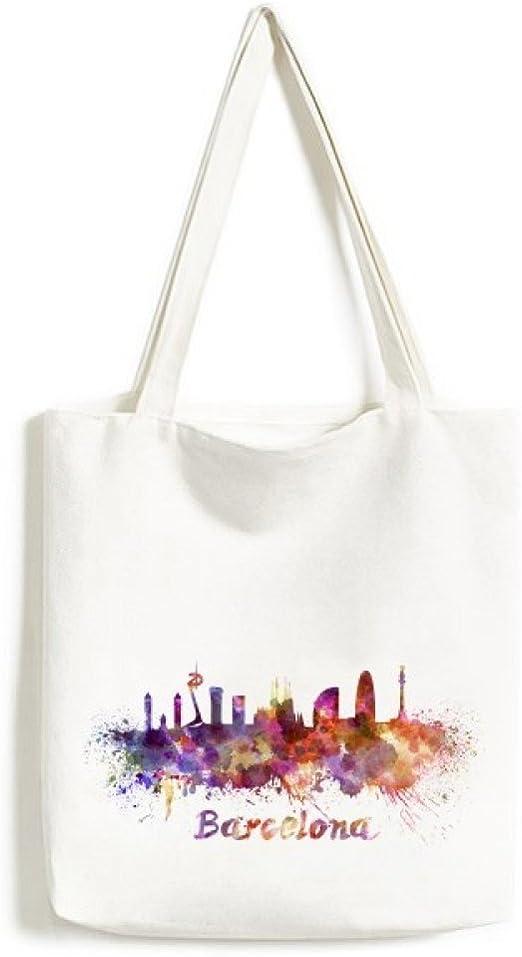 Barcelona España país ciudad acuarela ilustración diseño de moda bolsa de lona medio bolsa de regalo grande capacidad para bolsas de la compra: Amazon.es: Hogar