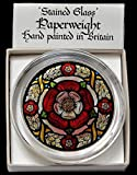 Decorative Hand Painted Stained Glass Paperweight in a Medieval Tudor Rose Design