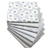 Quilting Fabric,Grey Fat Quarters Fabric Bundles,100% Cotton Fabric for Sewing Crafting,Print Floral Striped Polka Dot Gingham Fabric,18'' x 22''(Grey)