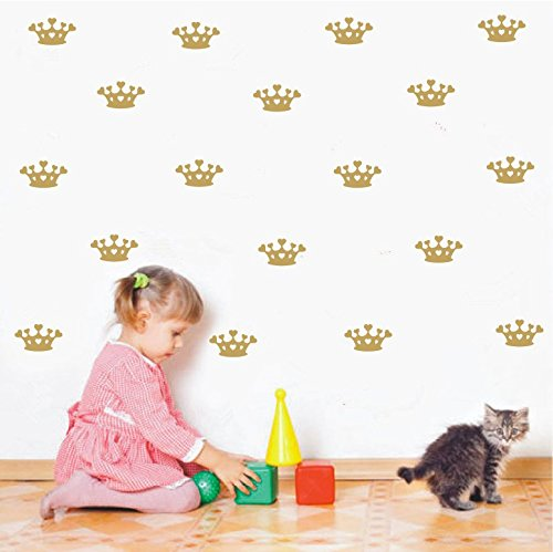 Princess Nursery Decor (48set/pack DIY Kids Gold Little Princess Crown Sticker -Home Decor Girls Bedroom Wall Sticker DIY Nursery Room Removable Poster(Gold))