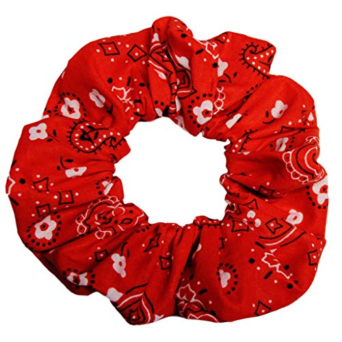 Scrunchies Cotton Ponytail Holders Hair Ties Woven Prints Scrunchie KingMade in the USA (red bandana)