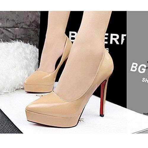 Sexy Abricot Cheville 12CM Soirée Club Femme Epais Escarpins Été Talon Chaussures Printemps Aiguille Plateforme Bride Minetom qBZpwfx7