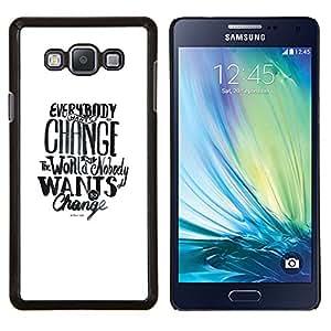 YiPhone /// Prima de resorte delgada de la cubierta del caso de Shell Armor - Cambio Mundial Quieres Social Text Blanca - Samsung Galaxy A7 A7000