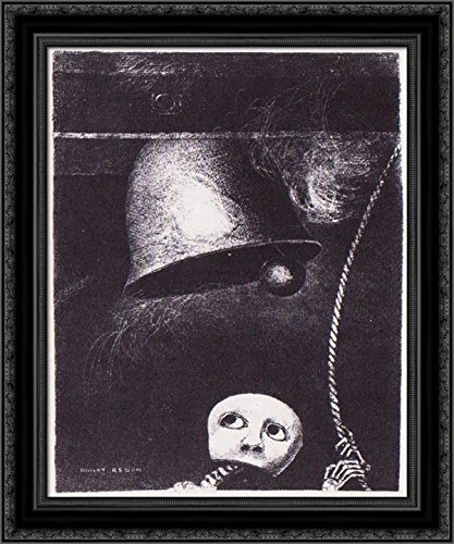 (A Funeral mask tolls Bell 20x24 Black Ornate Wood Framed Canvas Art by Redon, Odilon)