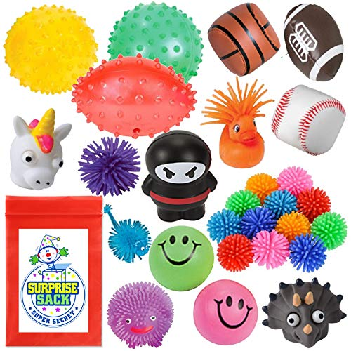 Super Secret Surprise Sack 28 Fabulous Fidgets Variety Sampler Pack (Stress Balls, Squeeze Toys and Sensory Aids for ADD, Autistic, Sensory Need Kids)