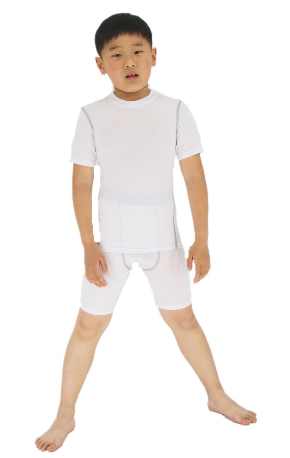 LANBAOSI Boy's Compression Shirts Pants Child's Short Sleeve Base Layer Set (7, White)