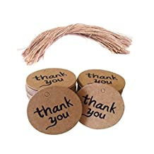 """Brown Round Kraft Paper Tag Labels with Jute Twines Thank You Wedding Round Card Paper Tag Diameter- 1.57"""" (100PCS)"""