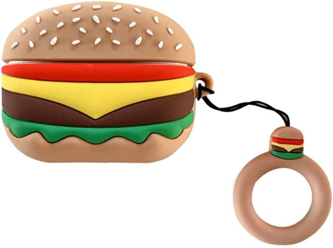 Airpods Pro Case, AKXOMY Hamburger Airpods Pro Case Cover, Cute Cartoon Food Silicone Earphone Case Cover Protective Clip Skin for AirPods Pro (Hamburger)