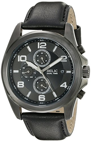 (Relic Men's Daley Quartz Stainless Steel and Leather Casual Watch, Color: Black (Model:)
