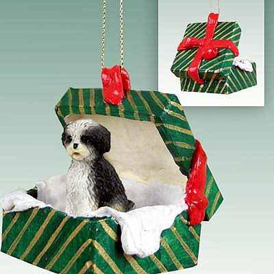 Conversation Shih Tzu Puppy Cut Green Gift Box Dog Orname...