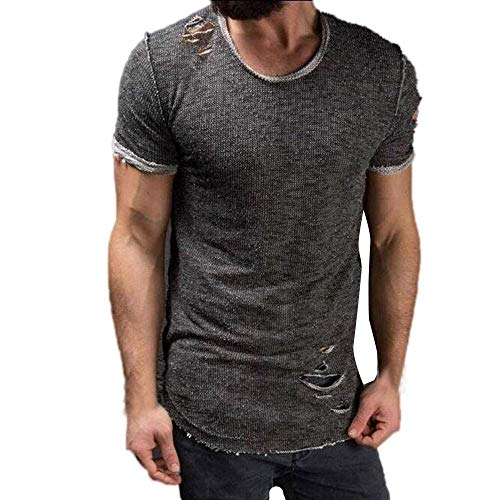 Hermia T Shirt Clearence Sale, Men's Summer 3D Flood Printed Short-Sleeved T-Shirt Top Blouse Sweatshirts (Color : Gray, Size : Medium) ()