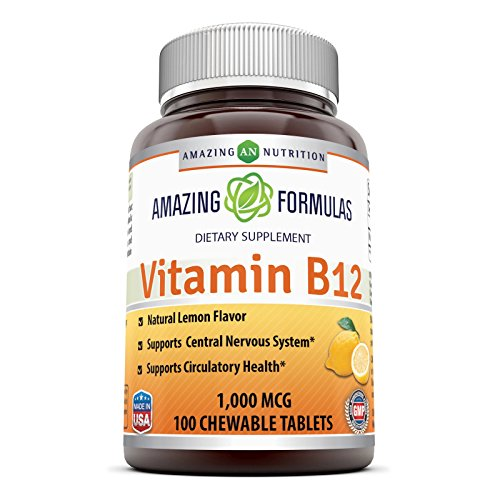 Amazing Nutrition Vitamin B12 Dietary Supplement – 1000 mcg, 100 Tablets – Supports Nervous System, Circulatory Health & Energy Metabolism*